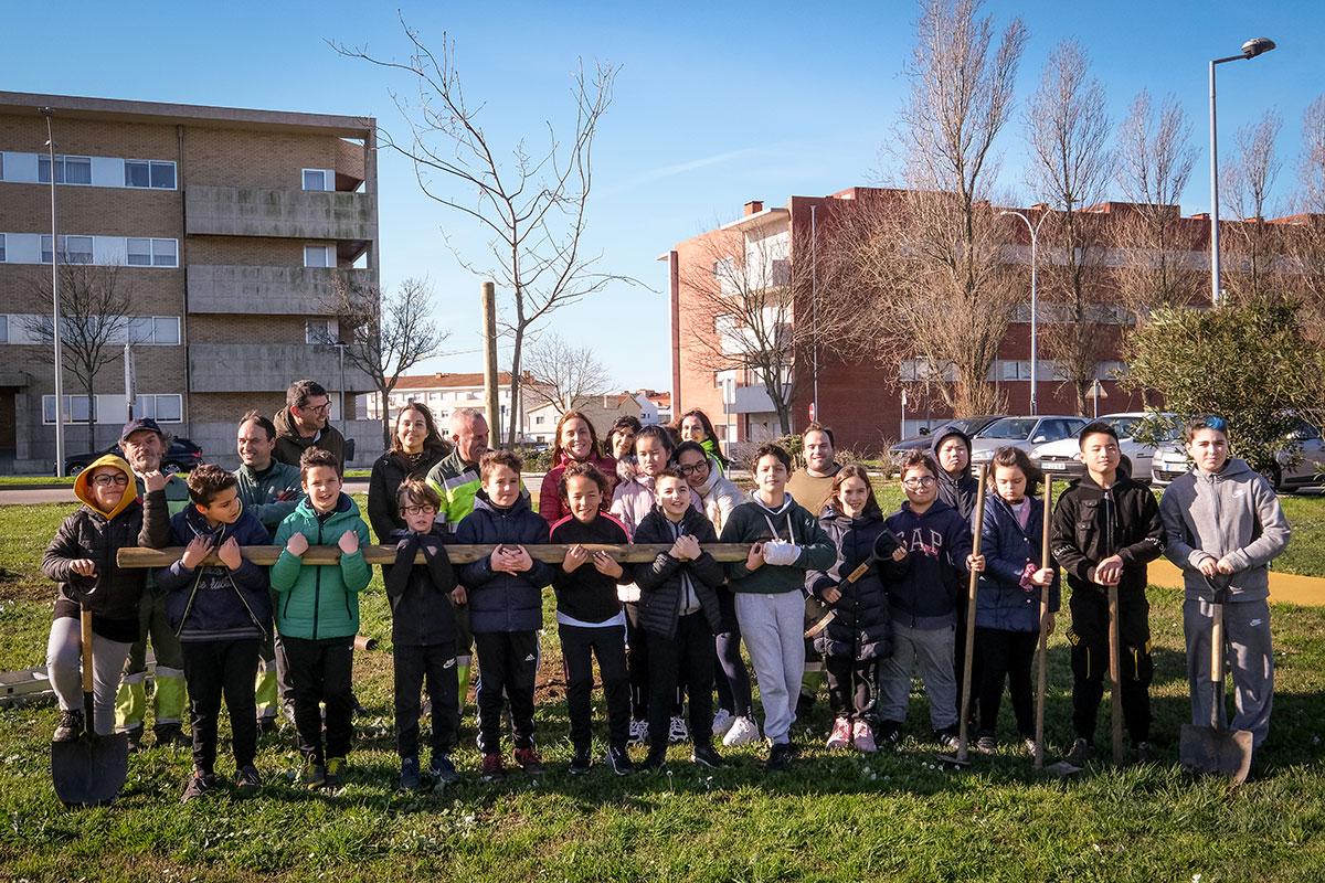 Alunos do Colégio de Amorim Plantaram Árvores na Via B